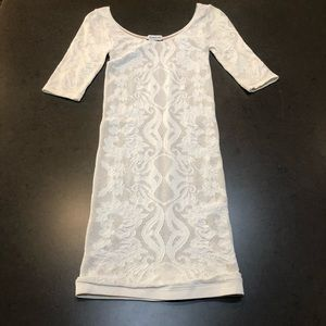 Bebe sexy lined Bodycon winter white lace dress
